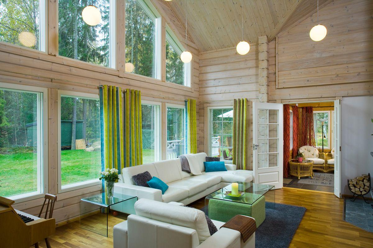 Galerie photo des int rieurs de maison bois esprit nature bois - Salon de sejour en bois ...